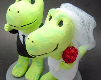 Cute Dinosaurs Wedding Cake Topper, Dino Bride and Groom Wedding Cake Topper, Dinosaur Groom in Top Hat Wedding Cake Topper