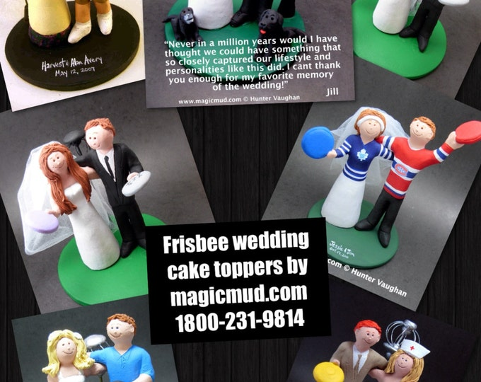Disc Golf Wedding Cake Toppers, Custom Made Frisbee Golf Wedding Cake Topper - Frisbee Wedding Cake Topper - Custom Wedding Cake Topper