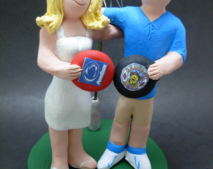 Frisbee Golfers Wedding Cake Topper, Disc Golf Wedding Cake Topper, Frisbee Wedding Cake Topper, Frisbee Bride and Groom Wedding Cake Topper
