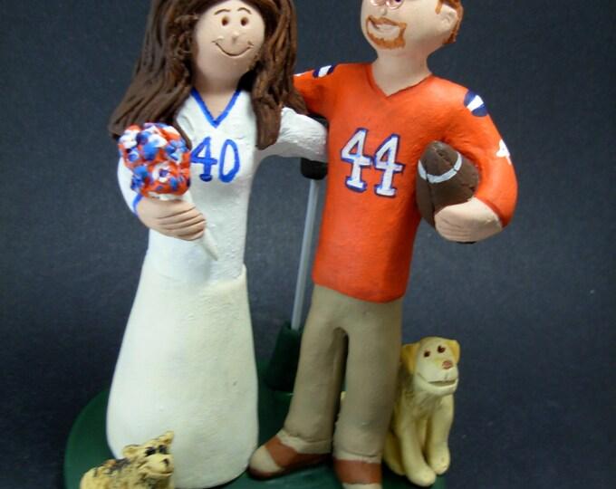 Denver Broncos Football Wedding Cake Topper, Denver Broncos Wedding Anniversary Gift/Cake Topper, Peyton Manning Wedding CakeTopper,