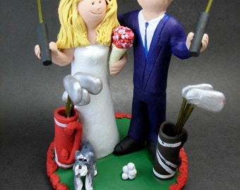 Golfer's Wedding Cake Topper, Golfing Wedding Cake Topper, Golfing Bride Wedding Cake Topper, Golf Destination Wedding Cake Topper