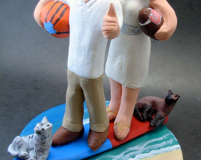 North Carolina Tarheels Wedding Cake Topper, Surfers Wedding Cake Topper, Basketball Wedding Cake Topper, South Carolina Wedding Cake Topper