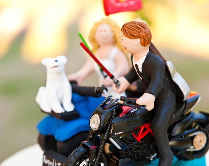 Jedi's Light Sabre Wedding Cake Topper -  Custom Made Motorcycle Wedding Cake Topper - Bride on ATV Wedding Cake Topper