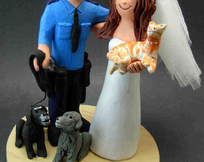 Police Officer's Wedding Cake Topper, Policeman Wedding Cake Topper, Law Enforcement Wedding Cake Topper, Cop Wedding Cake Topper