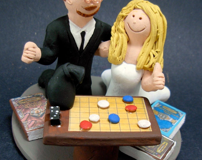 Dungeon and Dragon Board Game Players Wedding Cake Topper - Geeks Wedding Cake Topper, Gamer's Wedding Cake Topper, D&D Wedding Cake Topper