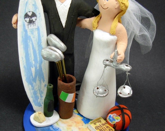 Lawyer Bride Wedding Cake Topper, Wedding Cake Topper for a Surfer Groom, Wedding Cake Topper for World Travellers, Surf Wedding Cake Topper