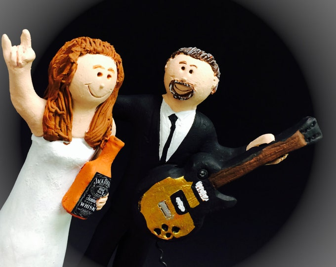 Jack Daniels Whiskey Bride Wedding Cake Topper - Rock Stars Wedding Cake Topper,Guitar Player's Wedding Cake Topper,Rock n Roll Cake Topper