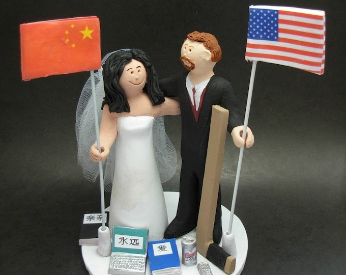 Chinese Bride American Groom Wedding Cake Topper, International Marriage Wedding CakeTopper,Wedding Cake Topper with Country of Origin Flags
