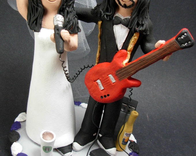 Rock Guitarist's Wedding Cake Topper, Guitar Wedding Cake Topper, Singing Bride Wedding Cake Topper, Rock n Roll Bride and Groom CakeTopper