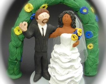 MultiRacial Wedding Cake Toppers, Custom Made Interracial Wedding Cake Topper - Mixed Race Wedding Cake Topper