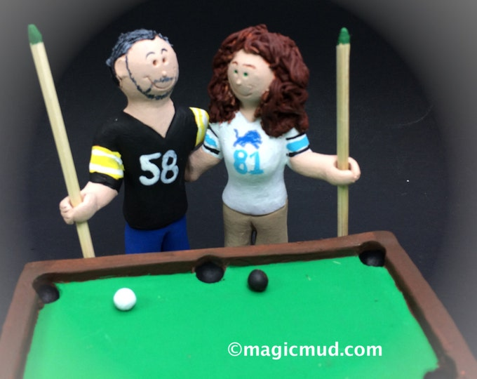 Billiard Player's Wedding Cake Topper - Custom Made Pool Players Wedding Cake Topper, Bride and Groom with Pool Cues Wedding Cake Topper