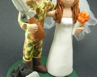 Duck Hunter In Camo Wedding Cake Topper, Duck Hunters Wedding Cake Topper, Redneck Wedding Cake Topper, Camouflage Groom Wedding Cake Topper