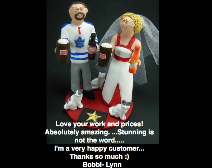 Unique Wedding Cake Topper - Custom Made Wedding Cake Topper - Hockey Groom Wedding Cake Topper - Plus Size Bride Wedding Cake Topper