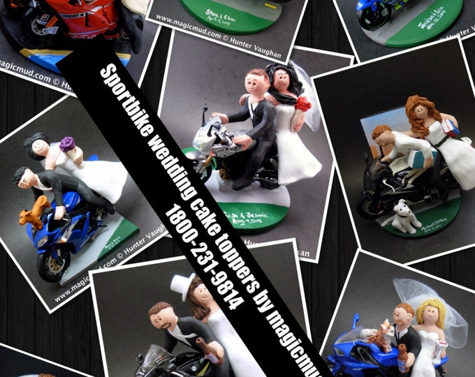 Bride and Groom on Sportbike Motorcycle Wedding Cake Topper, Motorcycle Wedding Cake Topper, Motorcycle Riders Wedding Cake Topper