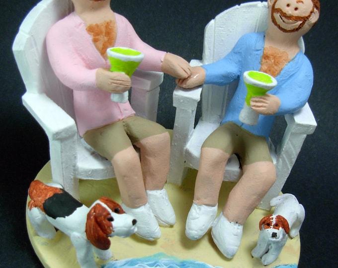 Gay Groom's in Adirondack Chairs Wedding Cake Topper, Same Sex Wedding Cake Topper, Gay Wedding Cake Topper, Wedding Caketopper for Two Men