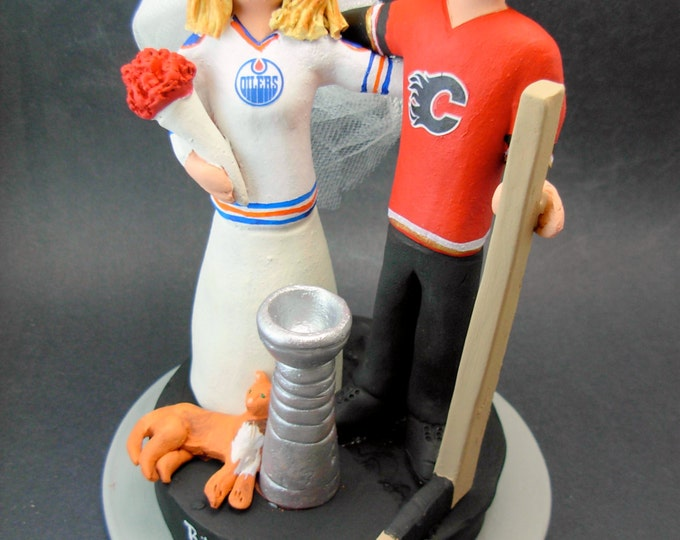 Calgary Flames Hockey Wedding Cake Topper, Oilers Hockey Bride Wedding Cake Topper, Stanley Cup Wedding Anniversary Gift, Hockey Caketopper