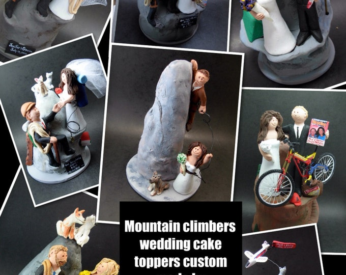 Cake Climbers Wedding Cake Topper, Mountaineers  Wedding Cake Topper, Rock Climbers Marriage CakeTopper, Wedding CakeTopper for Climbers