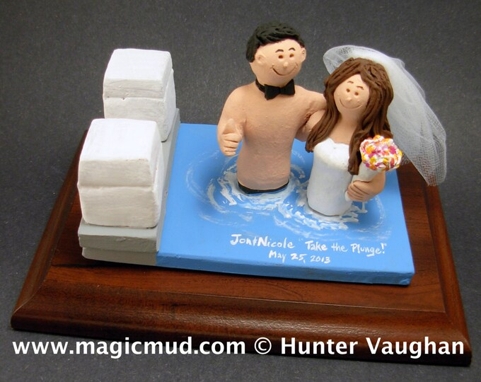 Swimmers in Pool Wedding Cake Topper, Swimming Pool Wedding Cake Topper, Hot Tub Wedding Cake Topper, Swimming Bride Wedding Cake Topper