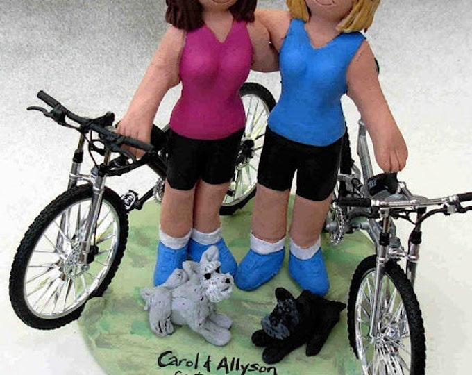 Gay Brides with Bicycles Wedding Caketopper, Lesbian Wedding Cake Topper, Gay Wedding Figurine, Same Sex WeddingCake Topper, Gay CakeTopper