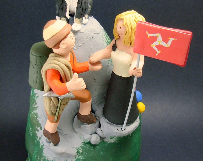 Mountaineering Bride and Groom Wedding Cake Topper - Custom Made Mountain Climbers Wedding Cake Topper,  Hiker's Wedding Cake Topper