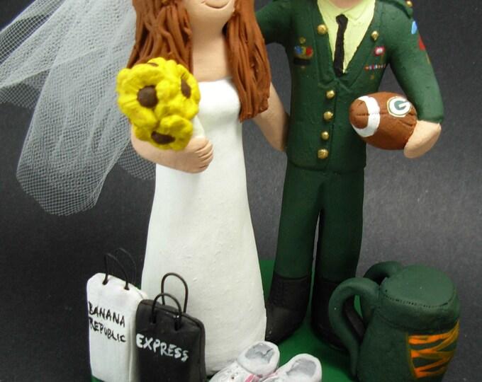 Paratrooper Groom In Uniform Wedding Cake Topper, Paratrooper with Beret Wedding Cake Topper, Paratrooper's Wedding Anniversary Gift