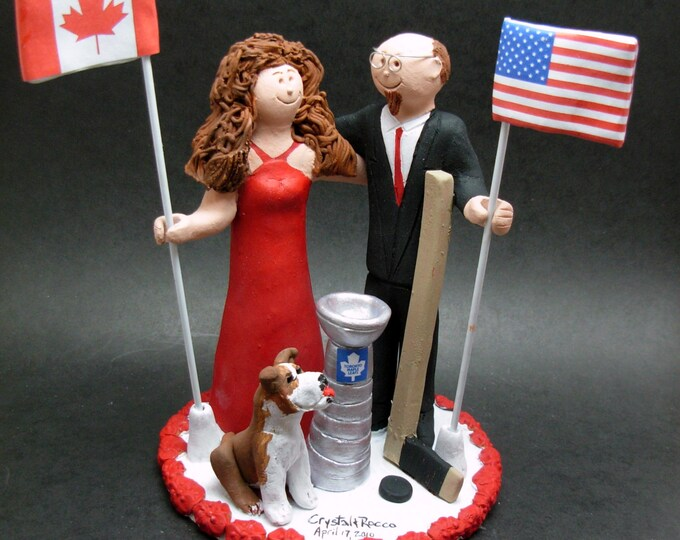 International Flags Wedding Cake Topper - Canadian Flag Wedding Cake Topper - American Flag Wedding Cake Topper - Old Glory Caketopper