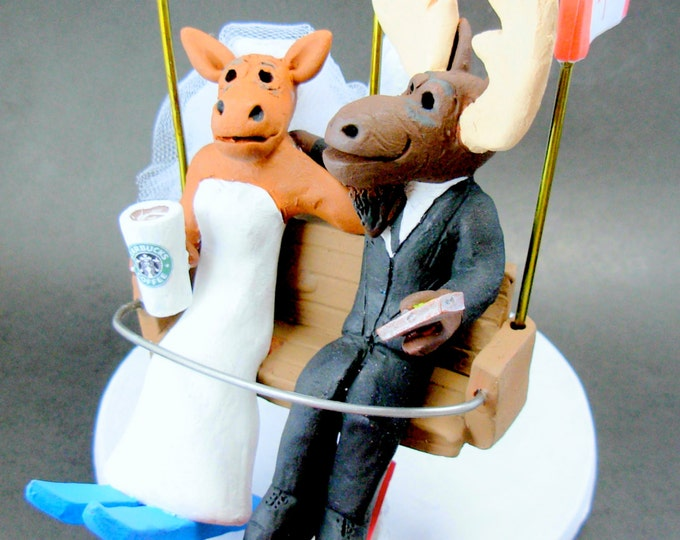 Moose Wedding Cake Topper, Moose Bride and Groom Wedding Cake Topper, Chairlift Wedding Cake Topper, Ski Lift Wedding Cake Topper
