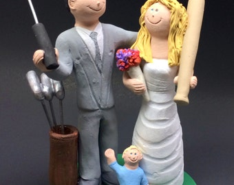 Golf Groom Marries Baseball Bride Wedding Cake Topper - Golfing Wedding Cake Topper, Baseball Bride with Bat Wedding Cake Topper