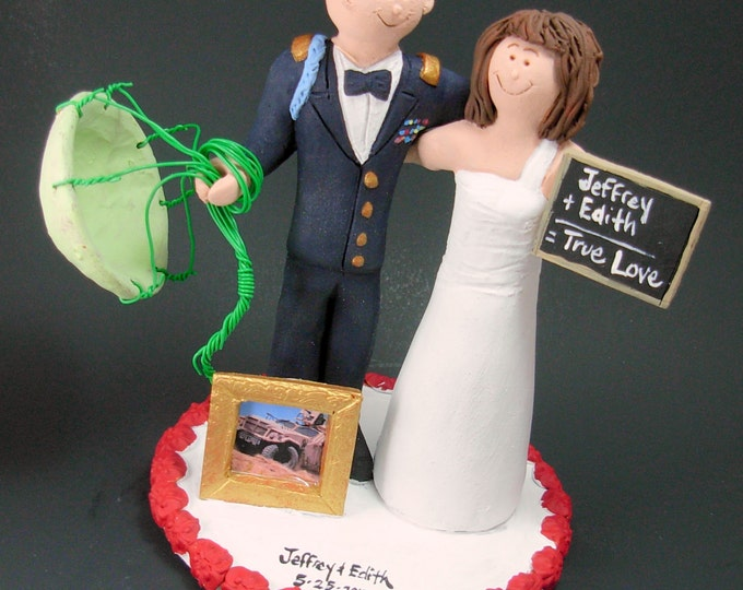 Teacher Bride Marries Paratrooper Groom Wedding Cake Topper, Soldier's Wedding Cake Topper, Military Wedding Cake Topper, Navy  Cake Topper
