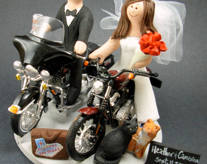Bride and Groom Riding Harley-Davidson Motorcycles Wedding Cake Topper, Bikers Wedding Cake Topper, Harley Motorcycle Wedding Cake Topper