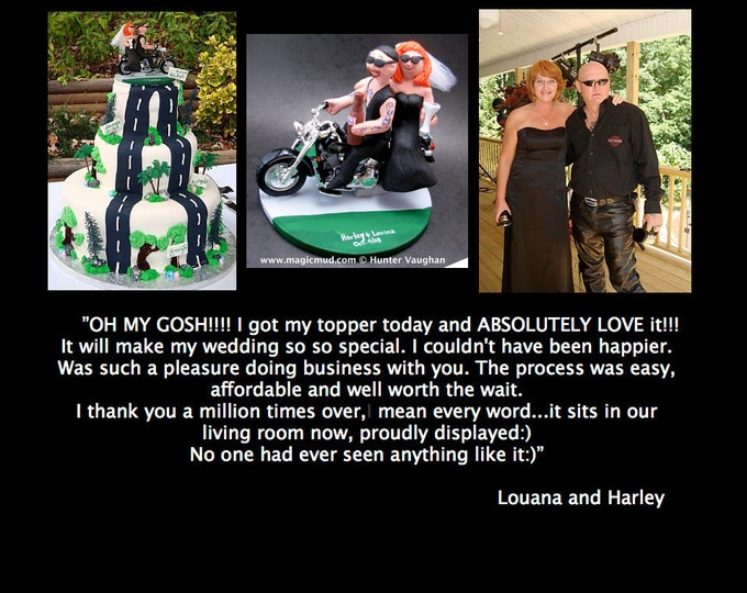 Custom Made Harley-Davidson Motorcycle Wedding Cake Topper - Custom Made Harley Bikers Wedding Cake Topper - Motorcycle Wedding Cake Topper