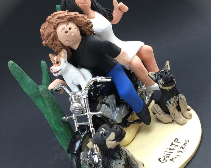 Lesbian Motorcyclist Wedding Cake Toppers custom made for same sex weddings!...handmade to your specifications. Lesbian Wedding Cake Topper
