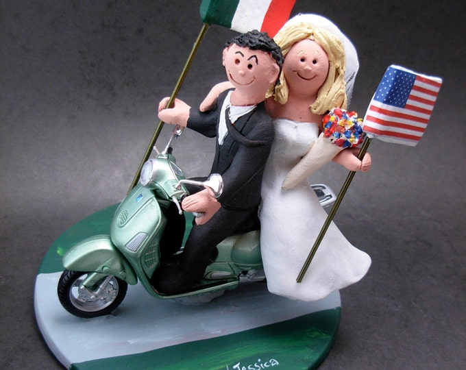 Italian American Wedding on a Vespa Scooter Cake Topper,Vespa Wedding Cake Topper, Bride and Groom on Vespa Scooter Wedding Cake Topper