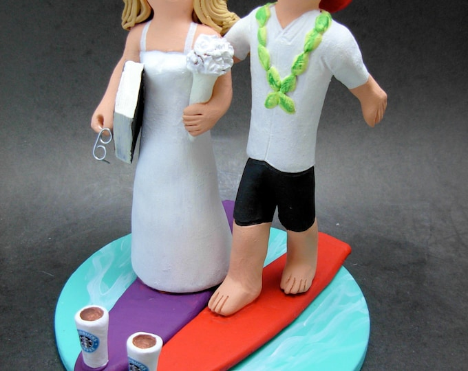 Surfing Fireman's Wedding Cake Topper, Fireman Wedding Cake Topper, Fire Fighters Wedding CakeTopper, Fireman Figurine for wedding caketop