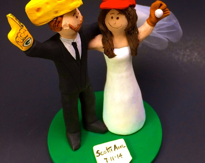"Green Bay Packers ""Cheesehead"" Football Wedding Cake Topper, St. Louis Cardinals Wedding Cake Topper,  Wedding Cake Topper custom made"