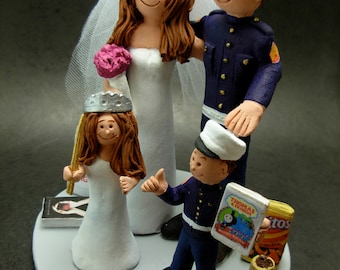 Mixed Family Wedding Cake Topper - Blended Family Wedding Cake Topper - Wedding Cake Topper with 2 Children - With Kids Wedding Cake Topper