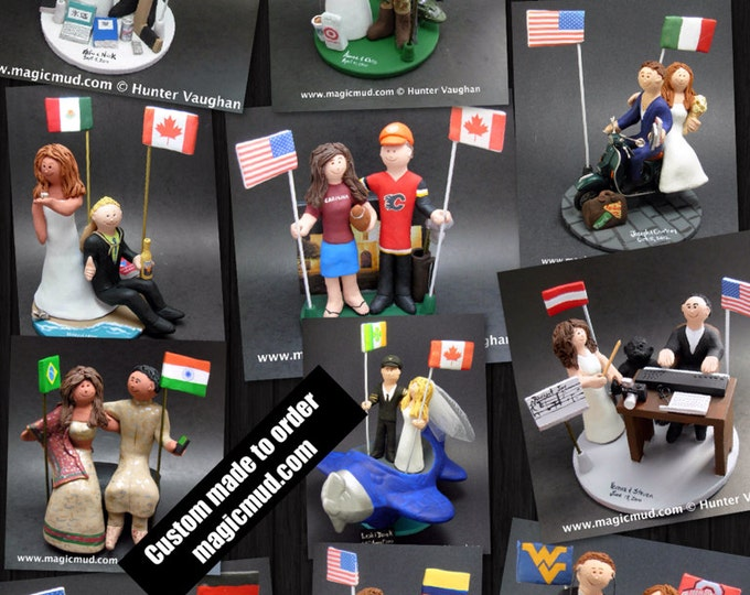 International Marriage Wedding Cake Topper, Wedding Cake Topper with Country of Origin Flags, custom marriage figurine,custom wedding statue