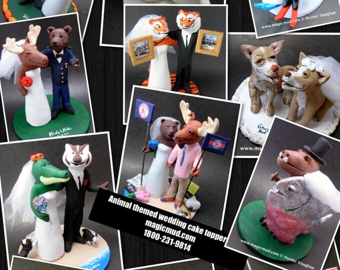 Custom Made Animal Wedding Cake Topper - Moose Wedding Cake Topper - Alligator Wedding Cake Topper - Custom Animal Wedding Cake Topper