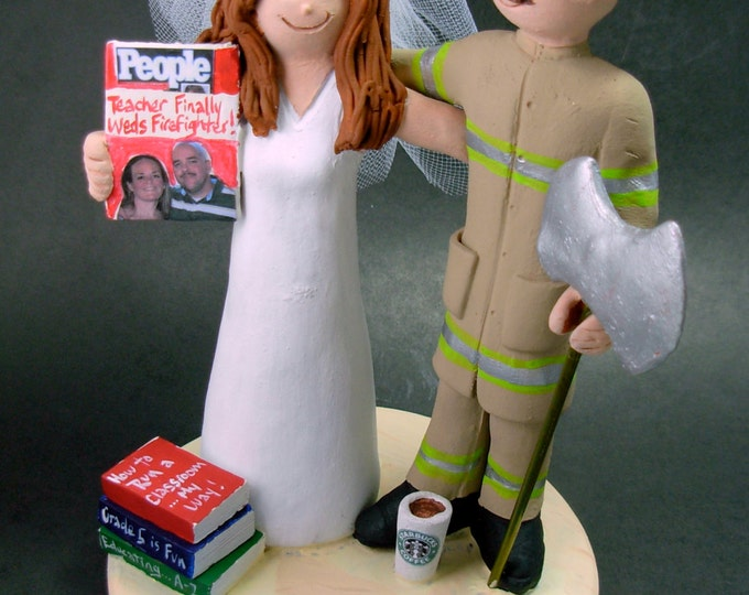 Fireman - Firefighter Wedding Cake Topper - Custom made to Order Fireman Wedding Cake Topper - Fireman Wedding Cake Topper -