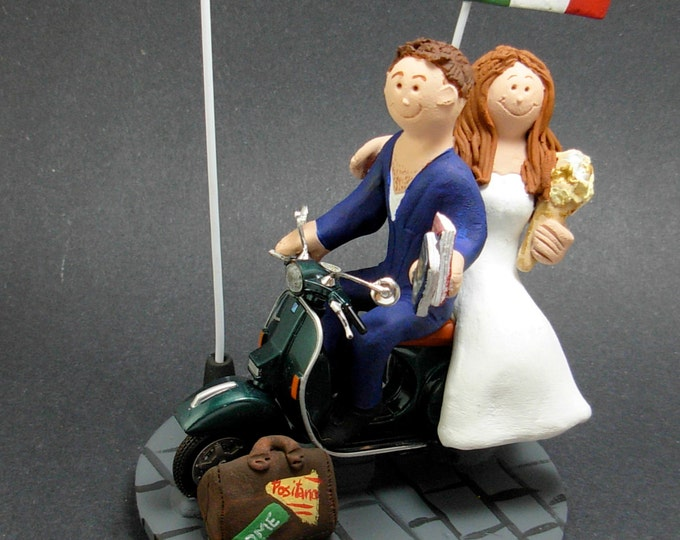 Bride and Groom on a Scooter Wedding Cake Topper, Vespa Wedding Cake Topper, Bride and Groom on Vespa Scooter Wedding Cake Topper