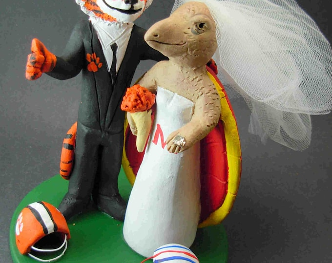 Clemson Tiger Groom Marries Maryland Terrapin Bride, Tiger Groom Wedding Cake Topper - Custom Made