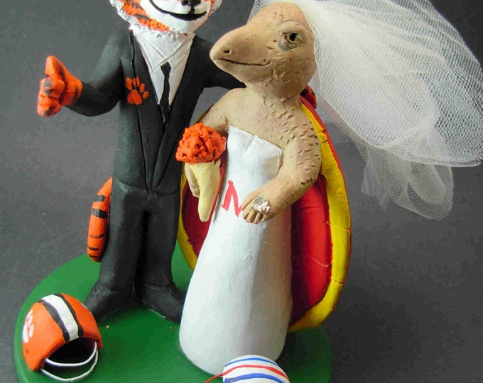 Clemson Tiger Groom Marries Maryland Terrapin Bride, Turtle Bride Wedding Cake Topper, Clemson Graduate's Wedding Cake Topper