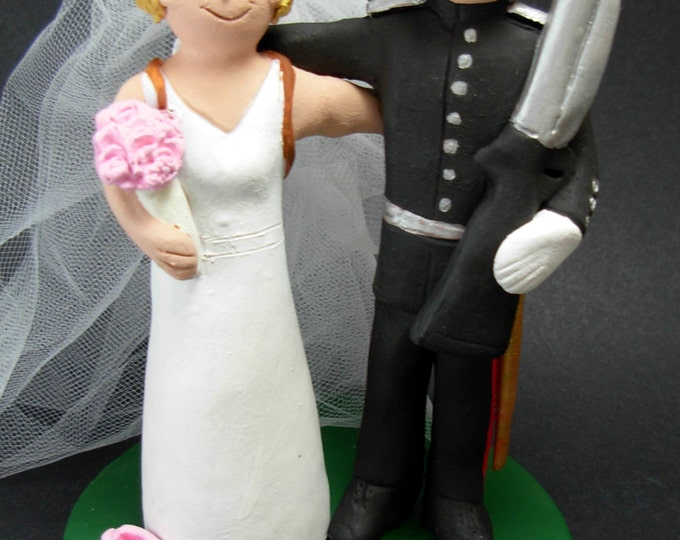 Military Dress Uniform Wedding Cake Topper, Soldier's Wedding Anniversary Present, Military Wedding Gift,  Air Force/Navy Wedding CakeTopper