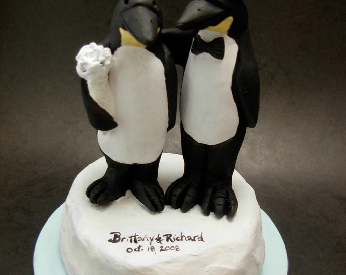 Penguin's Wedding Cake Topper - custom made Penguin Bride and Groom Wedding Cake Topper, Penguin in Top Hat Wedding Cake Topper