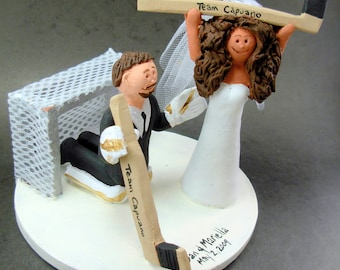 Goalie Groom Wedding Cake Topper, Hockey Bride and Groom Wedding Cake Topper, Wedding Anniversary Gift/CakeTopper, Hockey Wedding Figurine