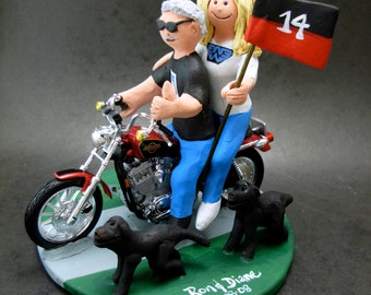 Harley-Davidson Motorcycle Wedding Cake Topper, Harley Fatboy Wedding Cake Topper Sturgis Wedding Cake Topper, Sunglass Groom Wedding Topper