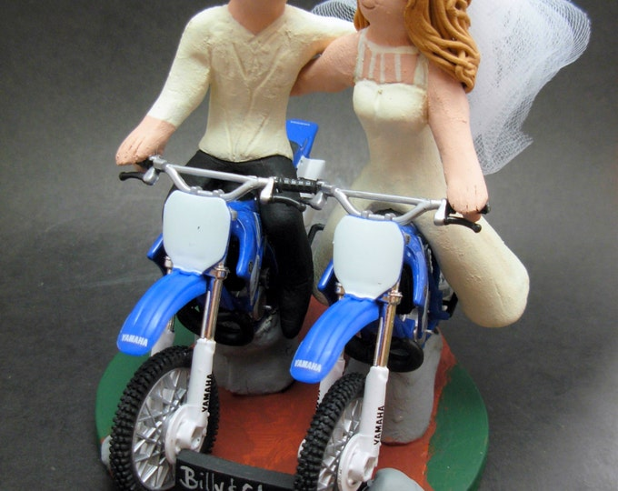 Wedding CakeTopper for Yamaha Dirt Bike Motorcycle Riders, Anniversary Gift for Honda Motorcycle Riders,Wedding Anniversary Gift/Cake Topper