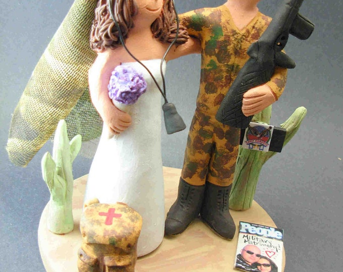 Bride with Camouflage Veil Wedding Cake Topper, Soldier's Wedding Anniversary Cake Topper, Military Wedding Anniversary Gift/CakeTopper,