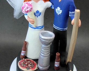 Toronto Maple Leaf's Hockey Wedding Cake Topper, Hockey Wedding Cake Topper, Stanley Cup Wedding Cake Topper, Hockey Wedding Figurine
