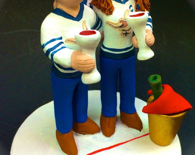 Lesbian Hockey Player's Wedding Cake Toppers custom made for same sex weddings! Handmade to your specifications. Lesbian Wedding Cake Topper